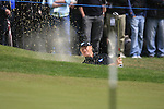 Ernie Els (RSA) chips out of a greenside bunker at the 1st green during the Final Day of the BMW PGA Championship Championship at, Wentworth Club, Surrey, England, 29th May 2011. (Photo Eoin Clarke/Golffile 2011)
