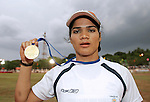"15.06.2012, India: PINKI PRAMANIK CHARGED WITH RAPE.Indian runner Pinki Pramanik who won a gold medal in the women's 4x400m relay at the 2006 Asian Games has been arrested on rape charges, leveled by a woman who claims the former athlete is actually a man..Picture Shows: Pinki Pramaik with the gold medal she won at the Asian Games in Pune, India on May 26, 2006..Mandatory Credit Photo: ©Solaris/NEWSPIX INTERNATIONAL..(Failure to credit will incur a surcharge of 100% of reproduction fees)..                **ALL FEES PAYABLE TO: ""NEWSPIX INTERNATIONAL""**..IMMEDIATE CONFIRMATION OF USAGE REQUIRED:.Newspix International, 31 Chinnery Hill, Bishop's Stortford, ENGLAND CM23 3PS.Tel:+441279 324672  ; Fax: +441279656877.Mobile:  07775681153.e-mail: info@newspixinternational.co.uk"
