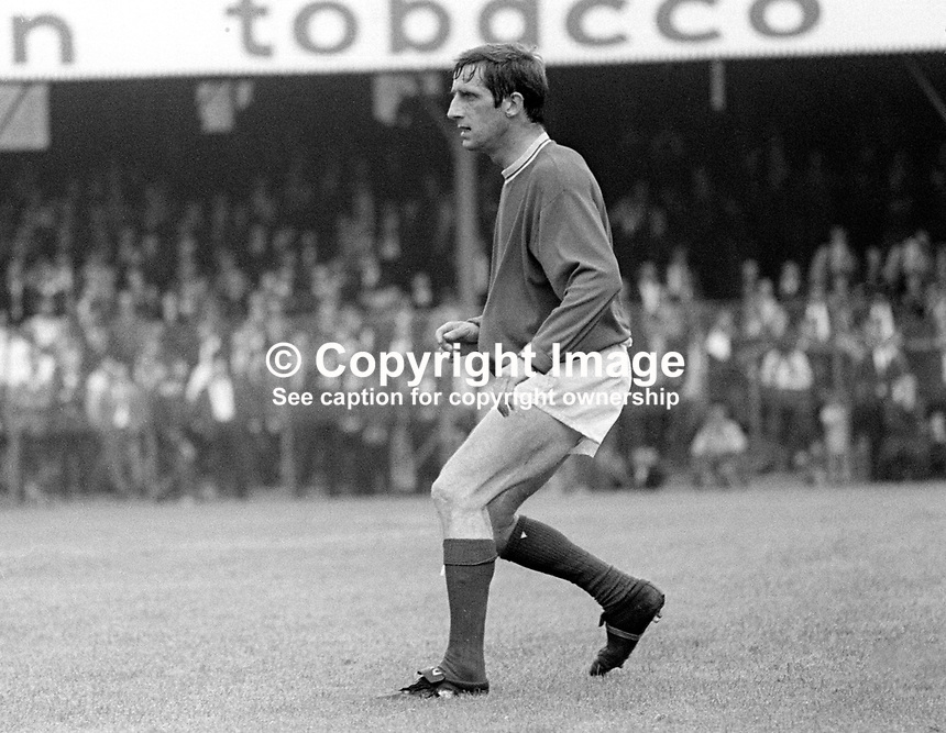 Dennis Viollet, Linfield FC, Belfast, N Ireland. English footballer who also played for Stoke City and Manchester United among others. A survivor of the Munich Air Disaster he was capped twice for England. August 1969. 196908000220DV1<br /> <br /> Copyright Image from Victor Patterson, 54 Dorchester Park, Belfast, UK, BT9 6RJ<br /> <br /> Tel: +44 28 9066 1296<br /> Mob: +44 7802 353836<br /> Voicemail +44 20 8816 7153<br /> Email: victorpatterson@me.com<br /> Email: victorpatterson@gmail.com<br /> <br /> IMPORTANT: My Terms and Conditions of Business are at www.victorpatterson.com