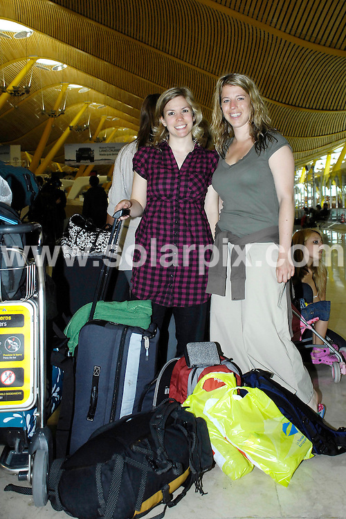 ** PICTURES FROM SOLARPIX.COM**.**WORLDWIDE SYNDICATION RIGHTS EXCLUDING SPAIN - NO PUBLICATION IN SPAIN**.British holiday makers boarding coaches laid on by the British Embassy to transport them to Calais to board Ferries home to the UK ..This pic: Jess Rance & Emily Blain from Birmingham..JOB REF: 11127          ROL       DATE: 21.04.2010.**MUST CREDIT SOLARPIX.COM OR DOUBLE FEE WILL BE CHARGED**.**MUST NOTIFY SOLARPIX OF ONLINE USAGE**.**CALL US ON: +34 952 811 768 or LOW RATE FROM UK 0844 617 7637**