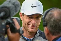 Lucas Bjerregaard (DEN) is interviewed near the green on 18 after defeating Tiger Woods (USA) during day 4 of the WGC Dell Match Play, at the Austin Country Club, Austin, Texas, USA. 3/30/2019.<br /> Picture: Golffile | Ken Murray<br /> <br /> <br /> All photo usage must carry mandatory copyright credit (© Golffile | Ken Murray)