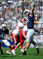 10 October 2015:  Penn State DE Carl Nassib (95) jumps to bat a pass down at the line of scrimmage. The Penn State Nittany Lions defeated the Indiana Hoosiers 29-7 at Beaver Stadium in State College, PA. (Photo by Randy Litzinger/Icon Sportswire)