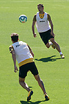 Getafe's Jaime Mata (l) and Nemanja Maksimovic during training session. June 5,2020.(ALTERPHOTOS/Acero)