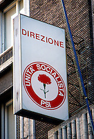 Roma, 1992.Veduta esterna della sede del PSI ai tempi dell'inchiesta Mani Pulite..Foto Livio Senigalliesi
