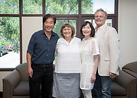 Campus tour and luncheon with alumni (from left) Jimmy Kwok '73, Lynn Hoffman '72, Lynette Payne '72 and Kevin Payne, Aug. 19, 2019.<br /> (Photo by Marc Campos, Occidental College Photographer)