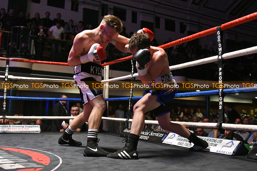 Kyle McCarthy (black/white shorts) defeats Billy Parker during a Boxing Show at York Hall on 11th March 2017