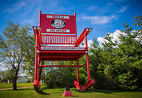 The world's largest rocking chair at the now closed Fanning 66 Outpost on Route 66 in Fanning Missouri.  The giant chair was built by Danny Sanazaro in 2008 and is 42 feet tall weighing in at 27,00 pounds.