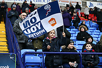 Young Bolton Wanderers' fan waving the flag before the match against Fulham<br /> <br /> Photographer Leila Coker/CameraSport<br /> <br /> The EFL Sky Bet Championship - Bolton Wanderers v Fulham - Saturday 10th February 2018 - Macron Stadium - Bolton<br /> <br /> World Copyright &copy; 2018 CameraSport. All rights reserved. 43 Linden Ave. Countesthorpe. Leicester. England. LE8 5PG - Tel: +44 (0) 116 277 4147 - admin@camerasport.com - www.camerasport.com