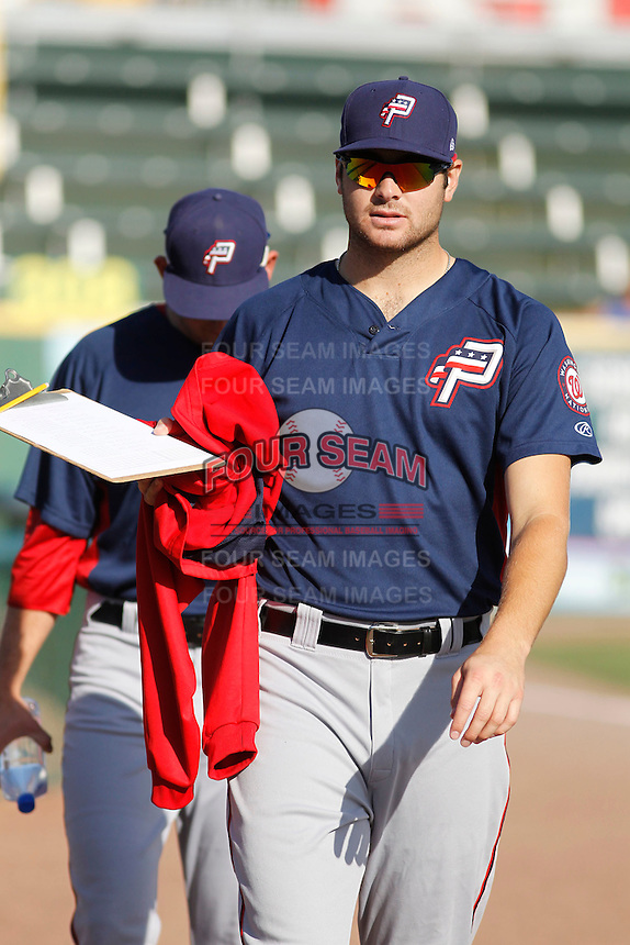 Potomac Nationals pitcher Lucas Giolito (23) walking to the dugout before a game against the Myrtle Beach Pelicans at Ticketreturn.com Field at Pelicans Ballpark on May 24, 2015 in Myrtle Beach, South Carolina.  Potomac defeated Myrtle Beach 1-0. (Robert Gurganus/Four Seam Images)