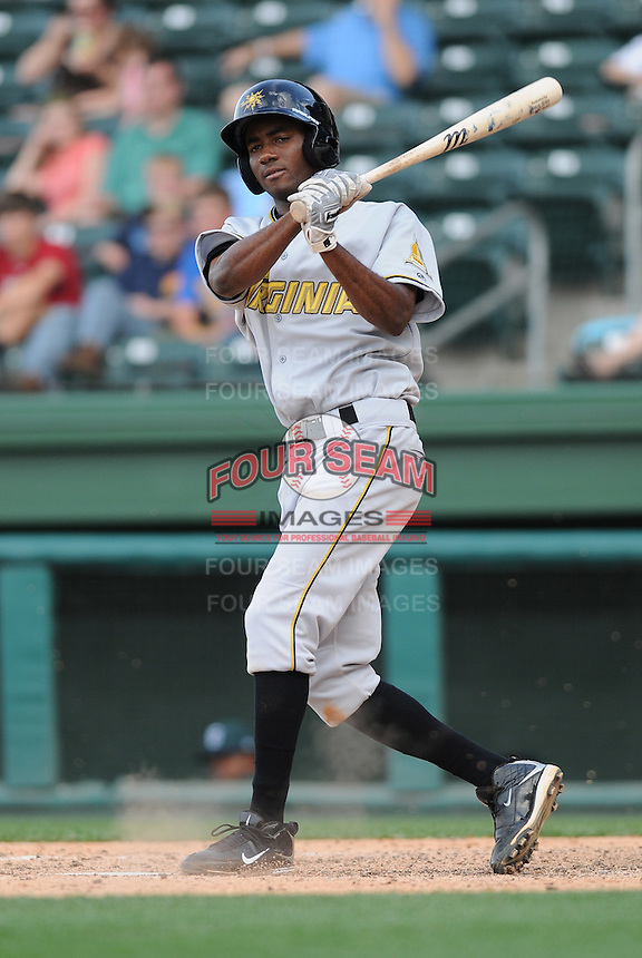Infielder Jesus Brito (34) of the West Virginia Power, Class A affiliate of the Pittsburgh Pirates, at a game against the Greenville Drive May 2, 2010, at Fluor Field at the West End in Greenville, S.C. Photo by: Tom Priddy/Four Seam Images