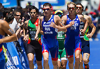 02 JUN 2013 - MADRID, ESP - Dmitry Polyanskiy (RUS) (second from the left in blue) and Denis Vasiliev (RUS) (second from the right in blue) of Russia during the run at the men's ITU 2013 World Triathlon Series round in Casa de Campo, Madrid, Spain <br /> (PHOTO (C) 2013 NIGEL FARROW)