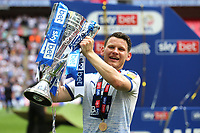 Connor Jennings, scorer of Tranmere's winning goal celebrates holding up the Trophy after the match during Newport County vs Tranmere Rovers, Sky Bet EFL League 2 Play-Off Final Football at Wembley Stadium on 25th May 2019