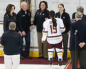 Patricia Doherty, Thomas Doherty, Courtney Kennedy (BC - Associate Head Coach), Danielle Doherty (BC - 19), Katie King Crowley (BC - Head Coach) -  The Boston College Eagles defeated the visiting Boston University Terriers 5-0 on BC's senior night on Thursday, February 19, 2015, at Kelley Rink in Conte Forum in Chestnut Hill, Massachusetts.