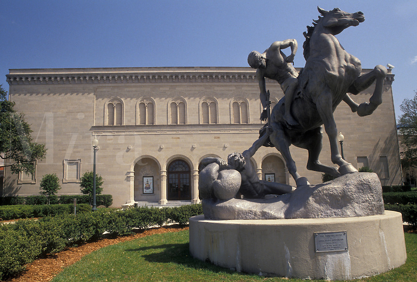 AJ3340, art museum, Norfolk, Virginia, Equestrian Statue in front of the Chrysler Museum of Art in Norfolk in the state of Virginia.