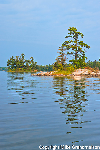 Tree on island reflected in Lake of the Woods<br />