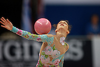 Alessia Marchetto of Italy performs with ball during junior event final at 2008 European Championships at Torino, Italy on June 7, 2008.  Photo by Tom Theobald.