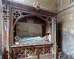 Interior of the priory church at Edington, Wiltshire, England, UK - Baynton monument
