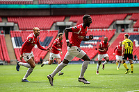 Emmanuel Dieseruvwe (Salford City) celebrates after scoring during the Vanarama National League Playoff Final between AFC Fylde & Salford City at Wembley Stadium, London, England on 11 May 2019. Photo by James  Gil.