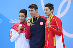 (L-R) Kosuke Hagino (JPN), Michael Phelps (USA), Wang Shun (CHN), <br /> AUGUST 11, 2016 - Swimming : <br /> Men's 200m Individual Medley Medal Ceremony  <br /> at Olympic Aquatics Stadium <br /> during the Rio 2016 Olympic Games in Rio de Janeiro, Brazil. <br /> (Photo by Yohei Osada/AFLO SPORT)