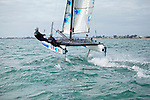 Armel Le Cléac'h and Kevin Escoffier from the Banque Populaire Sailing Team and the Flying Phantom.<br />