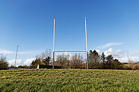 Pictured: The rugby posts from Stradey Park, the former home ground of the Scarlets on a roundabout outside the town. Wednesday 09 March 2018<br /> Re: The effect that the Scarlets RFC has had in the town of Llanelli in Carmarthenshire and the west Wales region.