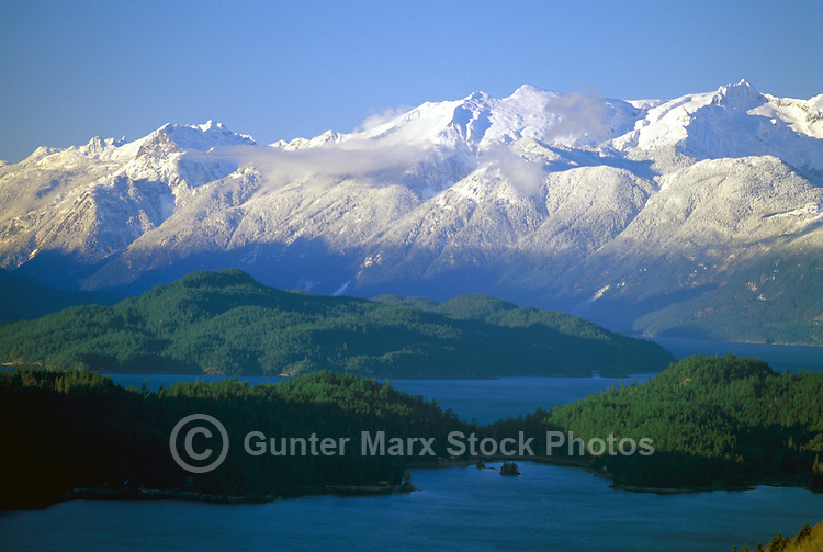 Harrison Lake and the Snow Covered Coast Mountains near Harrison Hot Springs, Southwestern British Columbia, Canada, in Spring