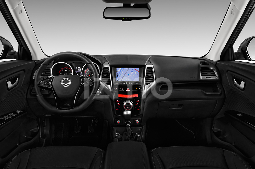 Stock photo of straight dashboard view of a 2017 Ssangyong XLV Sapphire 5 Door SUV
