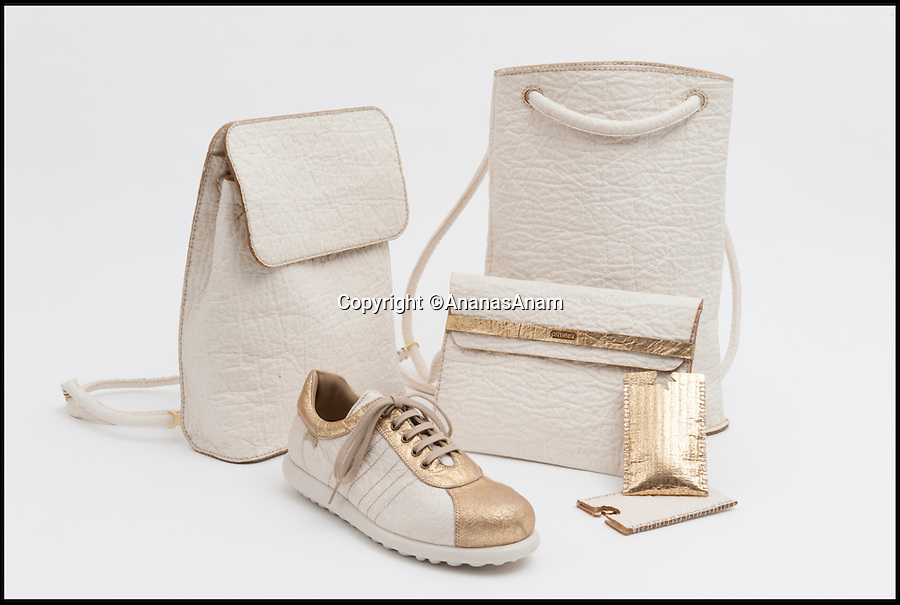 BNPS.co.uk (01202 558833)<br /> Pic: AnanasAnam/BNPS<br /> <br /> The 'leather' pineapple fibres can be used to make bags and shoes.<br /> <br /> A designer has come up with a wacky sustainable alternative to leather that you would normally find in your fruit bowl - the pineapple.<br /> <br /> Piñatex is a leather-like material that can be used to make shoes, handbags, clothes and furnishings, but it is made from the fibres of pineapple leaves.<br /> <br /> The textile can be waxed to look like leather, stamped to look like snakeskin or given a metallic finish for a luxury look. <br /> <br /> And, unlike leather, it has little impact on the environment because it is a by-product of the pineapple farming industry in the Philippines that would otherwise be left to rot.
