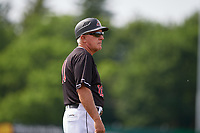 Batavia Muckdogs manager Tom Lawless (10) during a NY-Penn League game against the Auburn Doubledays on June 19, 2019 at Dwyer Stadium in Batavia, New York.  Batavia defeated Auburn 5-4 in eleven innings in the completion of a game originally started on June 15th that was postponed due to inclement weather.  (Mike Janes/Four Seam Images)