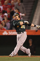 Josh Donaldson #20 of the Oakland Athletics bats against the Los Angeles Angels at Angel Stadium on April 19, 2012 in Anaheim,California. Oakland defeated Los Angeles 4-2.(Larry Goren/Four Seam Images)