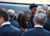 United States President Barack Obama greets family members of the victims at the North Pool at the September 11th Memorial at the World Trade Center site in New York, New York on September 11, 2011..Credit: Jefferson Siegel / Pool via CNP