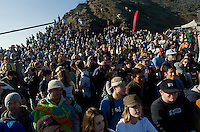 Fans watch the 2008 Mavericks Surf Contest awards ceremony from the beach in Half Moon Bay, Calif., Saturday, January 12, 2008...Photo by David Calvert/isiphotos.com