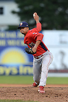 Williamsport Crosscutters pitcher Manny Martinez (29) during a game against the Batavia Muckdogs on September 4, 2013 at Dwyer Stadium in Batavia, New York.  Williamsport defeated Batavia 6-3 in both teams season finale.  (Mike Janes/Four Seam Images)