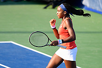 Washington, DC - August 3, 2019: Coco Gauff (USA) celebrates a point during the WTA Woman's Doubles Championship at Rock Creek Tennis Center, in Washington D.C. (Photo by Philip Peters/Media Images International)