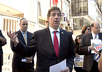 United States Representative Jamie Raskin (Democrat of Maryland) speaks at a protest held outside the Qatari Embassy to demand the Qatari government use its influence over terrorist group Hamas to return two of Israel&rsquo;s slain soldiers, Hadar Goldin and Oron Shaul, whom the terrorist group killed and kidnapped in 2014. Goldin was murdered and his body kidnapped during a U.S.- and U.N.-brokered ceasefire, in violation of international law and norms. The Jewish Community Relations Council (JCRC) of Greater Washington is spearheading the event at the embassy.<br /> Credit: Ron Sachs /CNP/MediaPunch