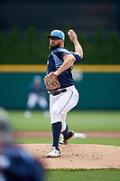 Columbus Clippers starting pitcher Stephen Fife (47) delivers a pitch during a game against the Gwinnett Stripers on May 17, 2018 at Huntington Park in Columbus, Ohio.  Gwinnett defeated Columbus 6-0.  (Mike Janes/Four Seam Images)