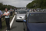 Long delays on the M4 motorway near Leigh Delamere following an accident. Traffic delay M4 motorway, England