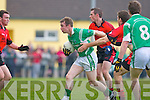 Marcus Mangan Milltown/Castlemaine brursts out of defence against Clondegad in the quarter final of the Munster Intermediate Club championship at Milltown on Sunday