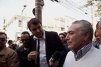 ATENCAO EDITOR: FOTO EMBARGADA PARA VEICULOS INTERNACIONAIS. SAO PAULO, SP, 29 SETEMBRO DE 2012 - ELEICOES 2012 - Gabriel Chalita - O o Vice Presidente da Republica, Michel acompanha o canditado a prefeitura da cidade, Gabreil Chalita (PMDB),participam de caminhada no bairro do Bras, na zona central da cidade, neste de sabado (29) . RICARDO LOU - BRAZIL PHOTO PRESS