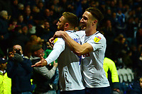Preston North End's Louis Moult celebrates scoring his side's third goal with team-mate Ben Davies<br /> <br /> Photographer Richard Martin-Roberts/CameraSport<br /> <br /> The EFL Sky Bet Championship - Preston North End v Blackburn Rovers - Saturday 24th November 2018 - Deepdale Stadium - Preston<br /> <br /> World Copyright © 2018 CameraSport. All rights reserved. 43 Linden Ave. Countesthorpe. Leicester. England. LE8 5PG - Tel: +44 (0) 116 277 4147 - admin@camerasport.com - www.camerasport.com