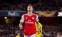Gabriel Martinelli of Arsenal after a missed opportunity during the UEFA Europa League match between Arsenal and Standard Liege at the Emirates Stadium, London, England on 3 October 2019. Photo by Andrew Aleks.