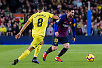 Lionel Messi of FC Barcelona (R) in action during the La Liga 2018-19 match between FC Barcelona and Villarreal at Camp Nou on 02 December 2018 in Barcelona, Spain. Photo by Vicens Gimenez / Power Sport Images