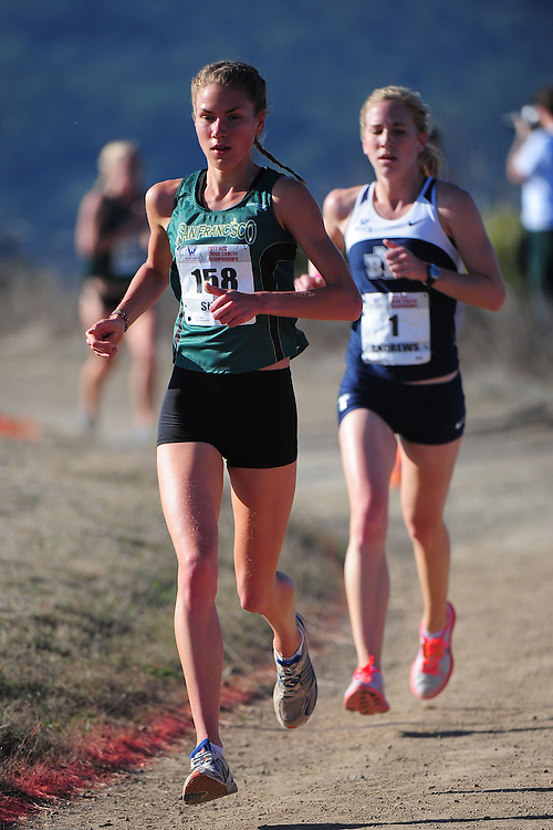 October 29, 2011; Belmont, CA, USA; San Francisco Dons runner Laura Suur (158) competes during the WCC Cross Country Championships at Crystal Springs.