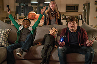 Goosebumps 2: Haunted Halloween (2018) <br /> Caleel Harris, Madison Iseman, Slappy &amp; Jeremy Ray Taylor<br /> *Filmstill - Editorial Use Only*<br /> CAP/MFS<br /> Image supplied by Capital Pictures