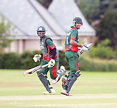 ICC World T20 Qualifier - GROUP B MATCH - CANADA V KENYA at Watsonians CC, Edinburgh - Kenya's Maurice Ouma and Man of the Match Irfan Karim on their way to a victorious 94 run stand — credit @ICC/Donald MacLeod - 10.07.15 - 07702 319 738 -clanmacleod@btinternet.com - www.donald-macleod.com