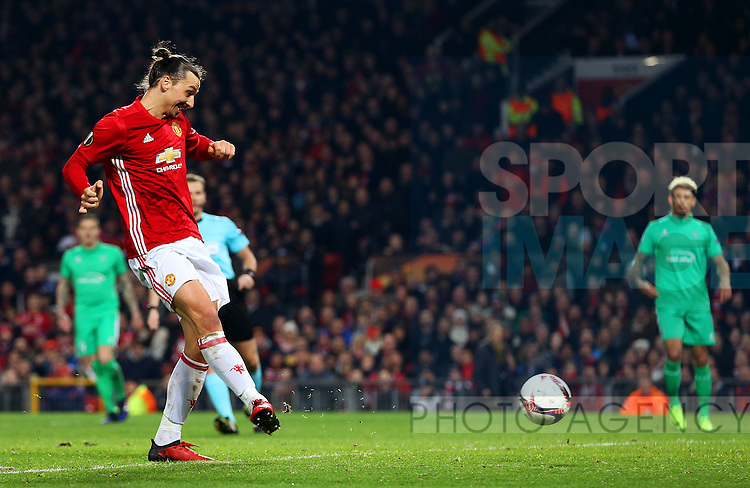 Zlatan Ibrahimovic of Manchester United scores his sides second goal during the UEFA Europa League Round of 32 1st leg match at Old Trafford Stadium, Manchester. Picture date: February 16th, 2017. Pic credit should read: Matt McNulty/Sportimage