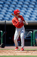 Philadelphia Phillies second baseman Luis Rojas (9) squares around to bunt during a Florida Instructional League game against the Toronto Blue Jays on September 24, 2018 at Spectrum Field in Clearwater, Florida.  (Mike Janes/Four Seam Images)