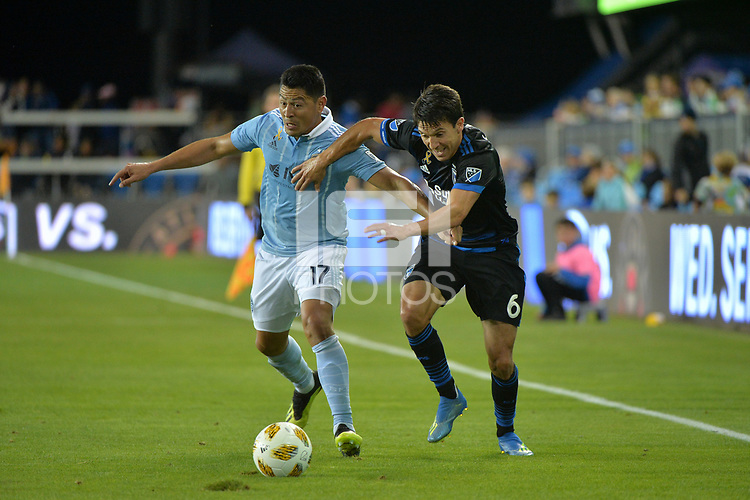 San Jose, CA - Saturday September 15, 2018: Roger Espinoza, Shea Salinas during a Major League Soccer (MLS) match between the San Jose Earthquakes and Sporting Kansas City at Avaya Stadium.