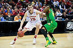 Wisconsin Badgers forward Sam Dekker (15) handles the ball during the third-round game in the NCAA college basketball tournament against the Oregon Ducks Saturday, April 22, 2014 in Milwaukee. The Badgers won 85-77. (Photo by David Stluka)