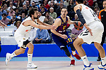 Sergio Llull and Gustavo Ayon of Real Madrid and Thomas Heurtel of FC Barcelona Lassa during Turkish Airlines Euroleague match between Real Madrid and FC Barcelona Lassa at Wizink Center in Madrid, Spain. December 13, 2018. (ALTERPHOTOS/Borja B.Hojas)